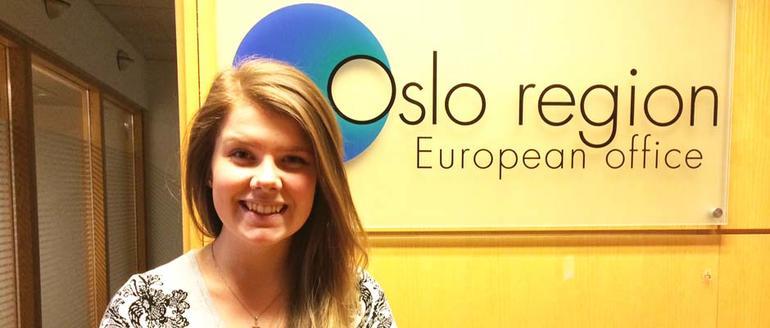 Christina Mørkve på Osloregionens Europakontor. Foto.