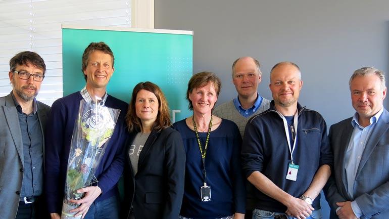 Stig Wahlstrøm, Trym Eggen, Thrine-Lise Melsom Olsen, Eva Nilssen, Lars Hoff, Knut E. Aasmundtvedt og Ynger Berg. Foto