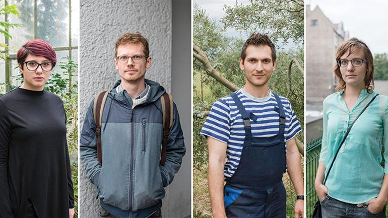 Fire av arbeidsinnvandrerne som deltok i forskningsprosjektet. Foto