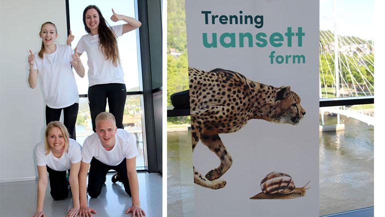 """""""Trening uansett form"""" er konseptet denne gjengen utarbeidet for Salto treningssenter. Ingrid Fredriksen, Anna Elena Hardangen, Herman Andreassen og Ingrid Hagelund."""