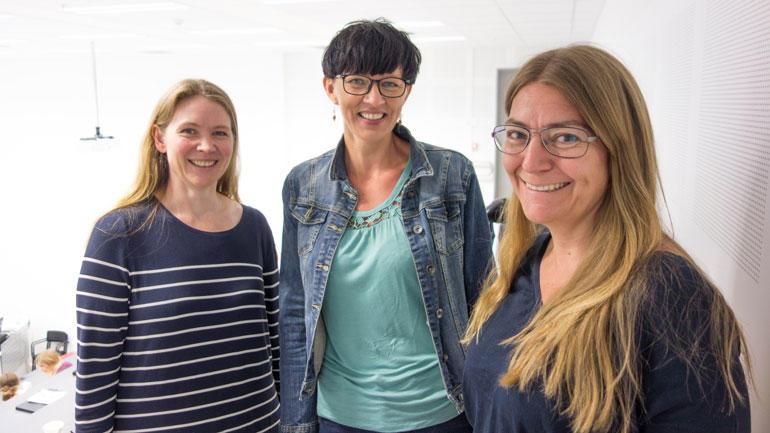 F.v: førsteamanuensis Helle Kristine Falkenberg, masterstudent Inger Lene Hustuft og førsteamanuensis Vibeke Sundling. Foto