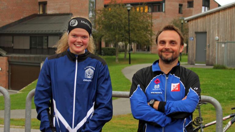 NM-vinner Mariann Roe med Skarphedintrener og HSN-foreleser Øyvind Støren. Foto: Kristian Løvstad