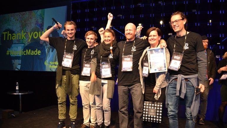 Gruppen fra Hønefoss vant Hack4Norden med appen Hidden. Foto: Kartverket/ #hack4no