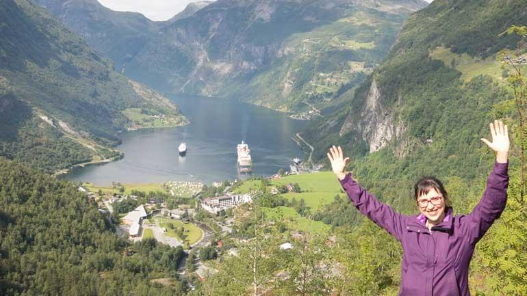 Gabriela enjoying the views in Geiranger