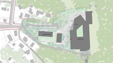 Nytt bygg på campus ringerike. Situasjonskart.  Bjørbekk Lindheim Landskapsarkitekter / Lerche Arkitekter AS