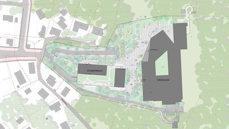 Nytt bygg på campus ringerike. Situasjonskart
