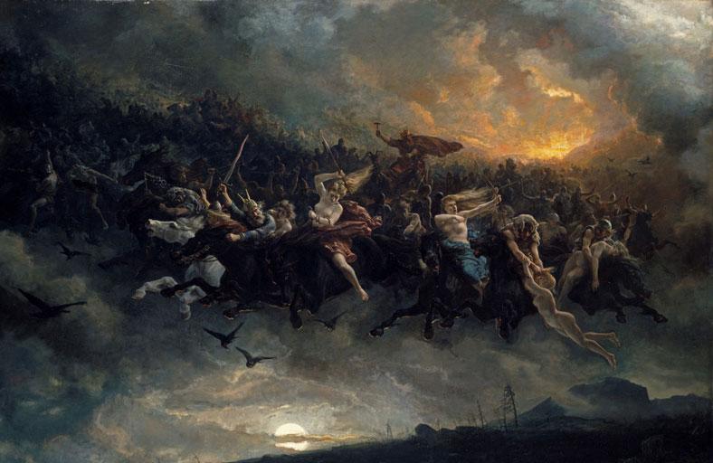 Åsgårdsreia ble malt av den norske maleren Peter Nicolai Arbo. Foto: Lathion, Jacques / Nasjonalmuseet