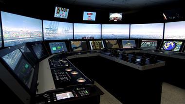 Bilde fra en av skipssimulatorene som er levert til USN fra Kongsberg Digital As.