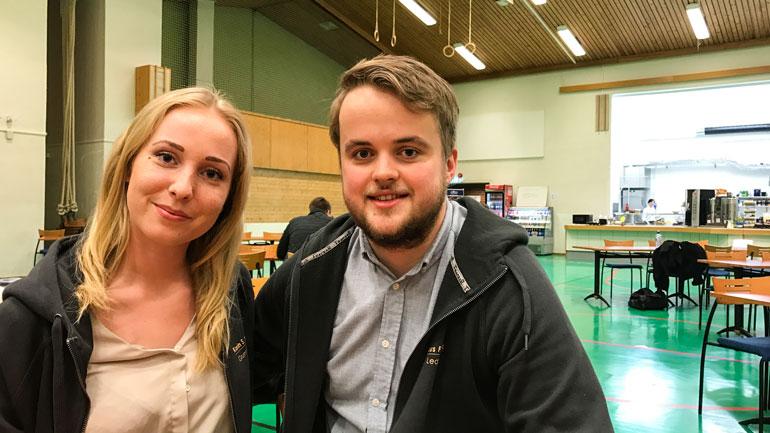 Karin S. Nilsen og Markus F. Brevik har nettopp lansert linjeforeningen til studentene i økonomi og ledelse på Ringerike.  Foto