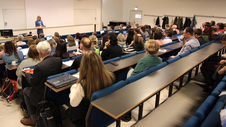 Foredragssituasjon i forbindelse med NAFOLs Spring School 2017 på HSN. Foto