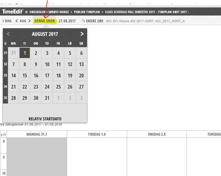 Bilde av hvordan du velger startdato for timeplan