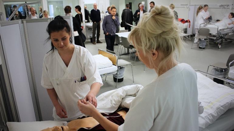 """Post: Under omvisningen var sykpleierstudentene Martine Emilie Moe og Mari Lia Stålesen blant dem som sto på """"post""""."""