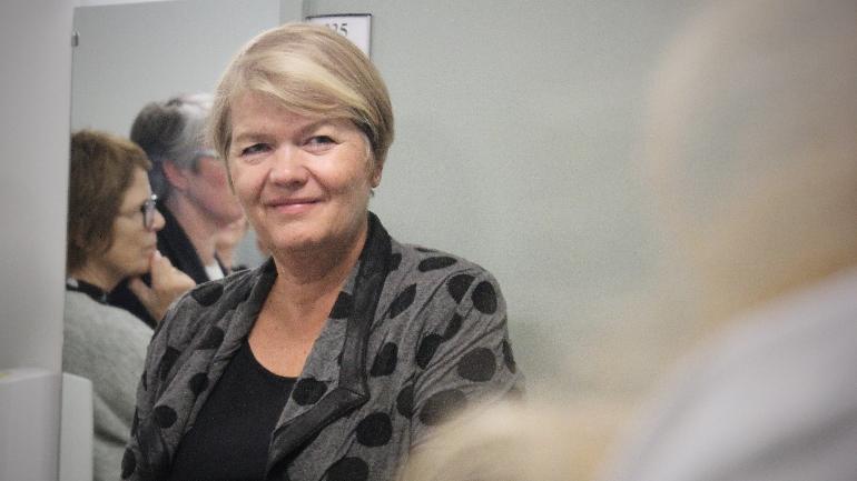 Ambisjoner: Heidi Kapstad, dekan ved Fakultet for helse- og sosialvitenskap, uttalte under sin tale at SIM-senterets ambisjoner også bør ligge på nasjonalt og internasjonalt nivå.