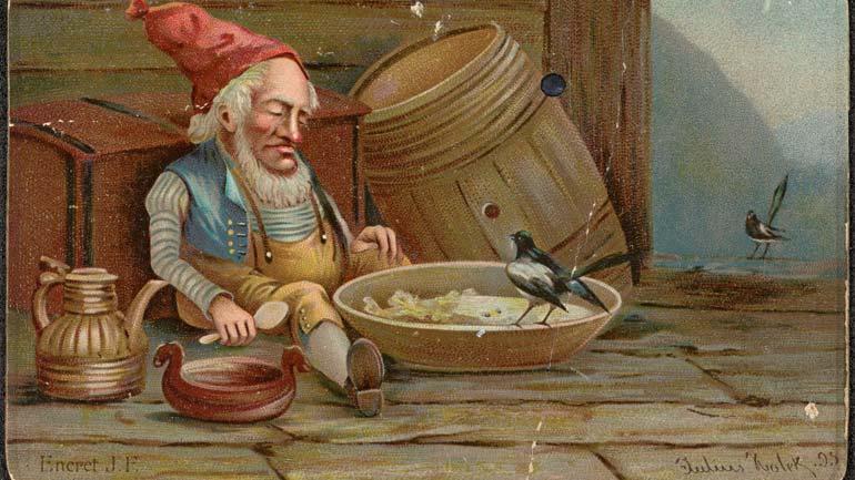 Dette bildet av fjøsnissen har kunstner Julius Holck malt i 1895.  Lånt av Nasjonalbiblioteket.