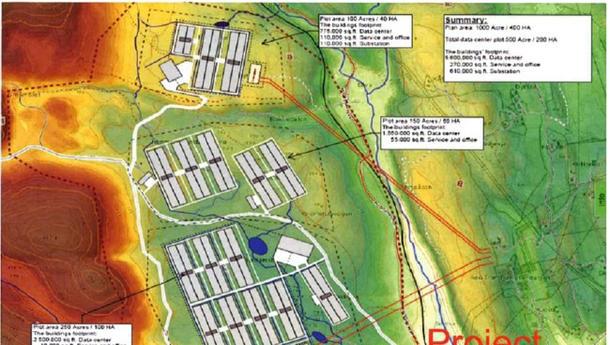 Kart over datalagrinssenter på Gromstul.