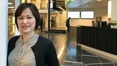 Dr Yuka Kitayama in reception area at campus Drammen. Photo: Jan-Henrik Kulberg