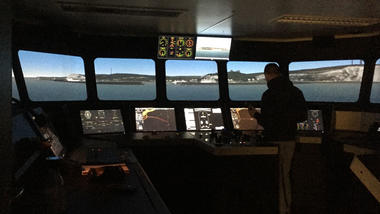 Launch of the ENHANCE-project. Photo of ship-simulator at USN.