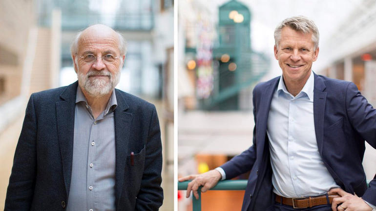 Petter Aasen og Kristian Bogen. Fotomontasje