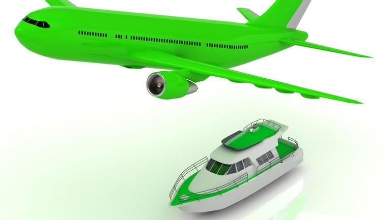 Grønt fly og grønn båt