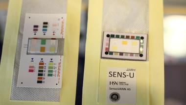 Bleieinnlegget SENS-U inneholder også et fargekart. Resultatene kan leses manuelt eller scannes med en mobilapp.  Foto