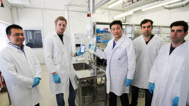 The product consists of a diaper liner and a mobile-app. From left:  Zhaochu Yang (Ph.D.), Haakon Karlsen (Ph.D.), Tao Dong (Professor),  Joao C.G. Simões (Erasmus mundus masterstudent), N M.M. Pires (Ph.D.) Photo: An-Magritt Larsen, USN.