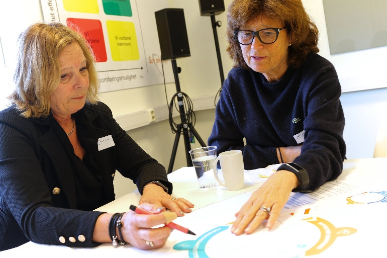 Hilde Eide ved USN og Ingvild Andersen ved Vestre Viken om videobasert kommunikasjon. foto.