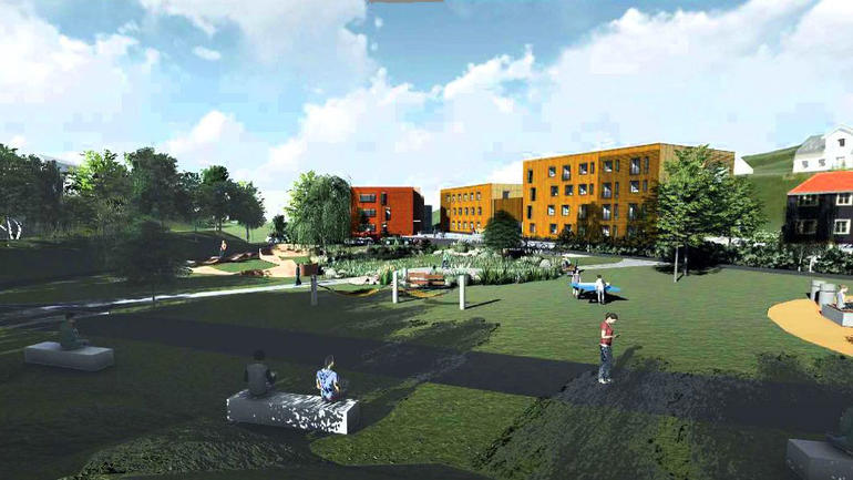 Nye studentboliger på Kongsberg  Foto: DRMA Arkitekter/Enerhaugen Arkit
