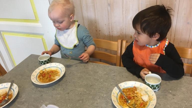 barnehagebarn spiser kylling og ris