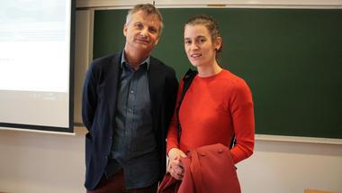 Viserektor ved HSN Pål Augestad og seniorrådgjevar ved Forskningsrådet Marte Qvenild