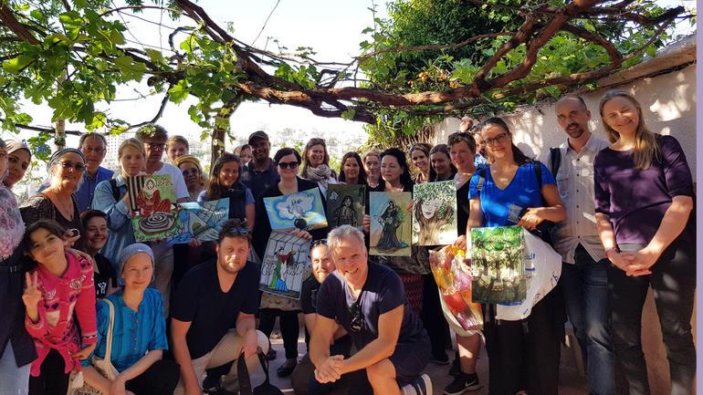 Studenter og forelesere fra USN på studietur til Palestina. Foto