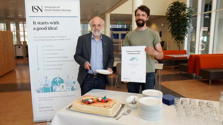 Sam Mathias Steyaert fekk 100 000 kroner frå USN til droneprosjekt på vatn.