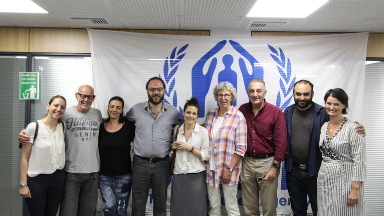 Samling hos FNs høykommissær for flyktninger. Professor Bengt Karlson (nr. 2. f.v.), professor Marit Borg (nr. 6 f.v.), førsteamanuensis Trude Klevan (ytterst til høyre).  Foto