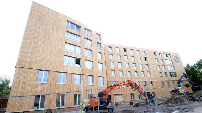 Nærbilde av nybygget på campus Vestfold.