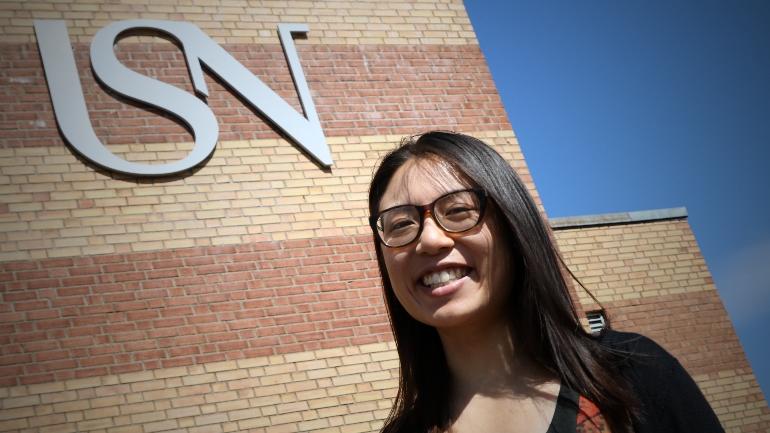 Kristy Yiu at campus Vestfold USN. photo.