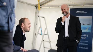 Samferdselsmininster Jan Georg Dale og Paal Aamaas under åpning av Testarena Horten. foto.