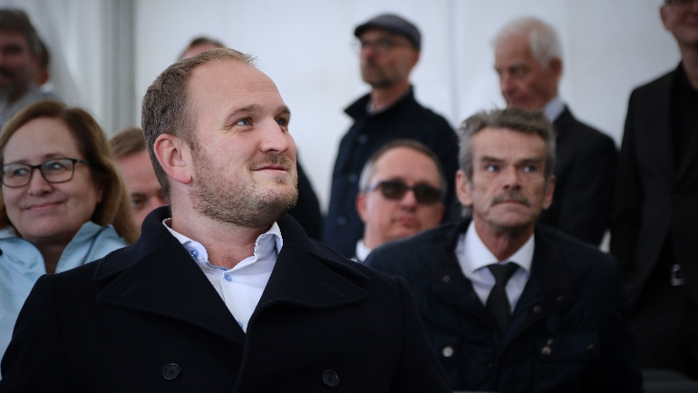 Norwegian Minister of Transport and Communications, Jon Georg Dale, present at the opening of USN Test Arena Horten, with Paal Aamaas. photo.