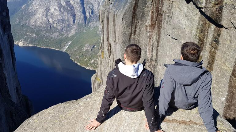 Quentin Morel, exchange student hiking with a buddy  in Norway