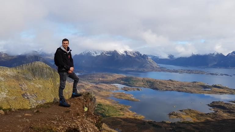 Quentin Morel, exchange student hiking in Norway