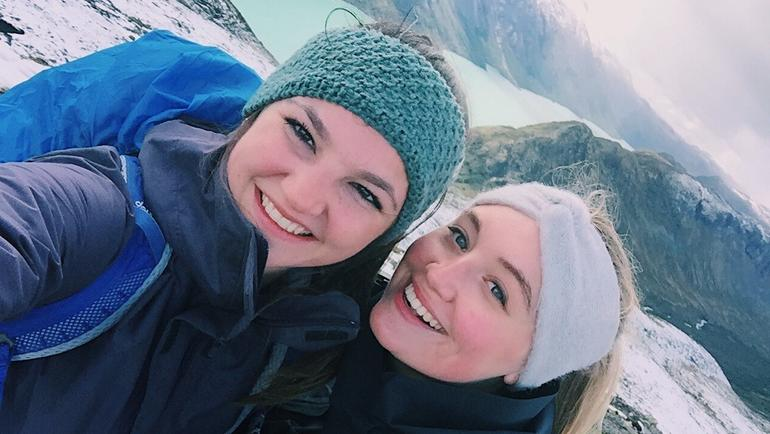 Charlotte and friend hiking in Norway
