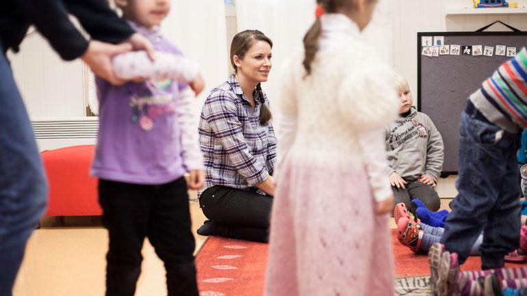 Situasjon fra barnehagemiljø. Foto