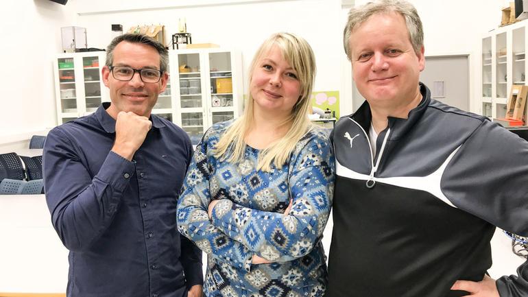 F.v: Marius Tannum, Marie Bastesen og Knut Yrvin besøker videregående skoler. Foto