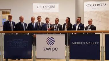 Skjerndump fra video av børsnotering av Zwipe på Oslo Børs.