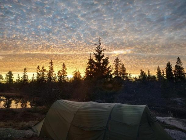 Tent in sunset in Norway