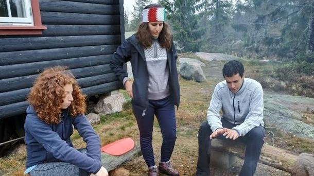 Ginevra at a cabin trip with two friends