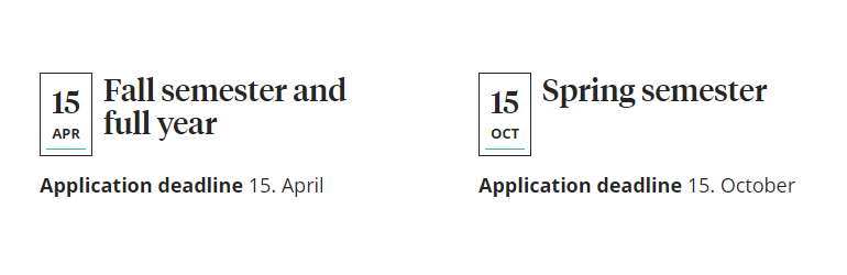 Application deadlines 15th of April and 15th of October
