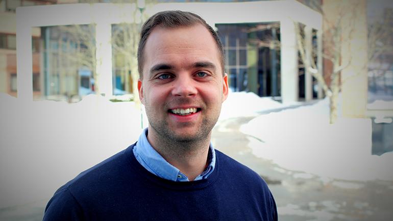 Kristoffer Munksgaard ved Exbo om eiendomsmegleryrket og bachelor i eiendomsmegling ved USN. foto.
