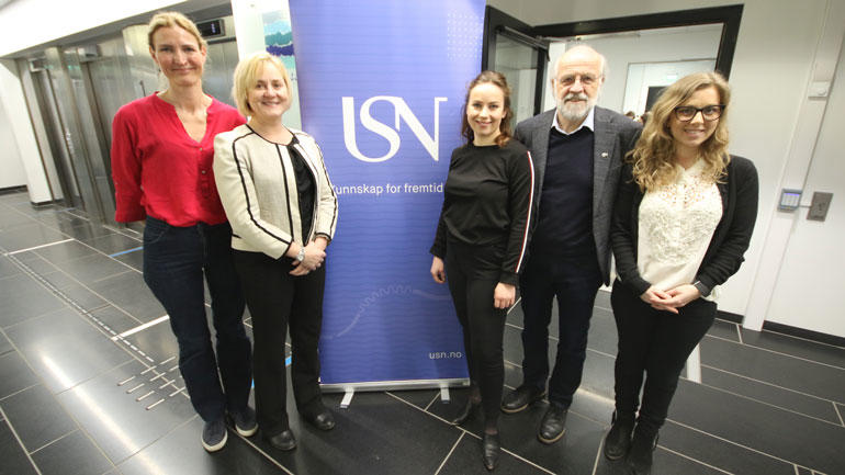 Therese Sofie Aasen, Helga Aune, Sofie Carlsen Bergstrøm, Petter Aasen og Ann Marit Roterud Espe. Foto