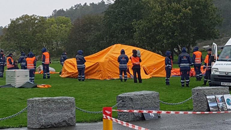 Sivilforsvaret etablerer telt