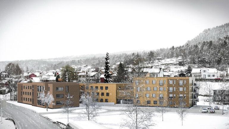 Illustrasjon av nye studenthybler på campus Kongsberg