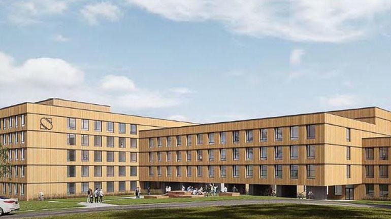 Illustrasjon av nye studentboliger på campus Bø.